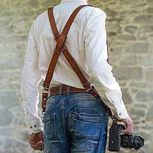 Iné doplnky - Kožený profi - popruh na 2 fotoaparáty - 8286806_