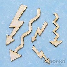 Polotovary - Výrez Drobné prvky - Šípky a blesky, 5ks - 8290599_
