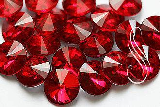 Komponenty - Kabošon sklenená rivolka červená 12 mm - 8290065_
