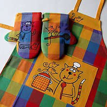 Detské oblečenie - KOŤÁTKOVÉ KUCHTĚNÍ - zástěrka a chňapky - 8291041_