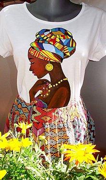 Tričká - Afričanka na bielom tričku  klasický strih - 8289235_