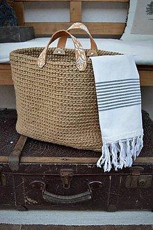 Veľké tašky - Jutová taška s ornamentovými úchytkami - 8288418_