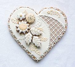Dekorácie - Medovníkové s kvetmi 19 cm - 8291949_