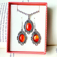 Sady šperkov - Antique Silver Orange Agate Set - Stainless Steel / Sada s oranžovým achátom - chirurgická oceľ - 8291190_