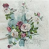 - S1027 - Servítky - kvety, ruže, vintage, písmo, romantika - 8292707_