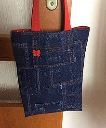 Nákupné tašky - riflová taška do červena - 8293322_