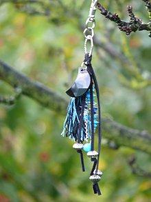 Kľúčenky - Prívesok modrý strapec - 8294492_