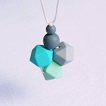 Šperky - Silikónový náhrdelník pre otecka tyrkys - 8294362_