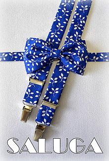Doplnky - Kráľovsky modrý motýlik a traky - vzorovaný - 8291390_