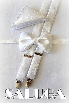 Doplnky - Luxusný svadobný pánsky biely motýlik traky a vreckovka - vzorovaný - 8291948_