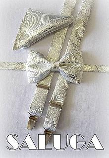 Doplnky - Svadobný set - pánsky strieborný motýlik traky a vreckovka - vzorovaný - strieborný - 8291960_