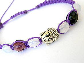 Náramky - violet opal shamballa budha - 8295054_