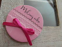 Darčeky pre svadobčanov - ružové magnetky menovky - 8294786_