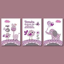 Grafika - Fialová séria do detskej izby s narodeninovými údajmi a zvieratkami - 8292750_