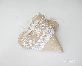 Darčeky pre svadobčanov - Srdiečka folk...béžové - 8293821_