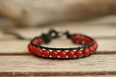 - Pánsky kožený náramok z minerálov červený jadeit - 8293279_