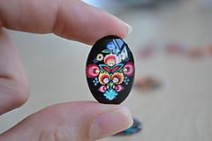 Komponenty - Kabošon sklenený folk čierny 18x25mm, 0.80€/ks - 8292333_