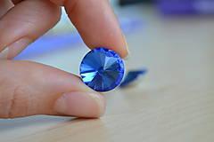 Komponenty - Kabošon sklenený rivoli nebeský 14mm, 0.30€/ks - 8292436_