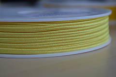 Galantéria - Šujtášová šnúrka citrón 3mm, 0.25€/meter - 8293256_