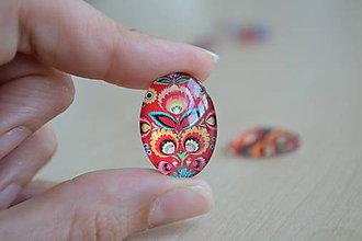 Komponenty - Kabošon sklenený folk červený 18x25mm, 0.80€/ks - 8292253_
