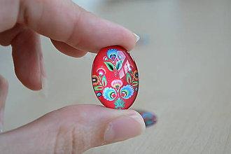 Komponenty - Kabošon sklenený folk červený 18x25mm, 0.80€/ks - 8292288_