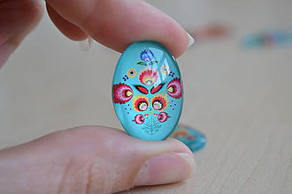 Komponenty - Kabošon sklenený folk tyrkys 18x25mm, 0.80€/ks - 8292308_