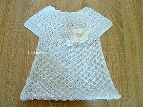Detské oblečenie - Saty pleteno hackovane na krst - 8291353_
