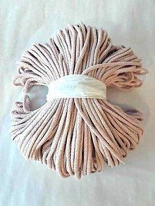 Galantéria - Šnúra bavlnená 5mm - PÚDROVÁ 100m - 8295803_