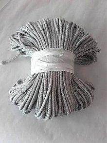 Galantéria - Šnúra bavlnená 5mm - ŠEDÝ melír 100m - 8296023_