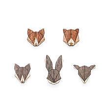 Odznaky/Brošne - Drevený set Animal Brooches Set - 8295444_