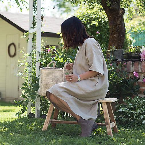 Šaty - ľanové šaty béžové - 8296139_