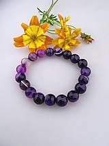 Náramky - achát fialový náramok, korálky achát 10mm - 8296448_