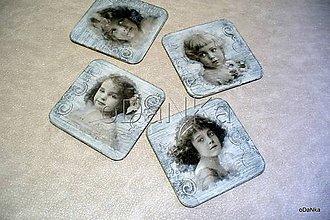 Pomôcky - drevené podložky pod poháre Vintage sivá 4 ks - 8296472_