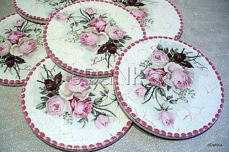 Pomôcky - drevené podložky pod poháre Vintage ružová 6 ks - 8297720_