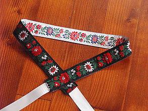 Opasky - Folklórny opasok obojstranný šírka 3,5cm - čierno biely - 8295139_