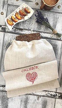 Úžitkový textil - Vrecúško na chlebík z ručne tkaného ľanu - 8297670_