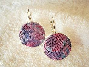 Náušnice - Náušnice z polyméru, fialové-pruhované - 8295353_