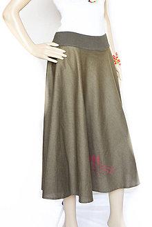 Sukne - _FLoRaL & olivová... kruhová sukňa... - 8301763_