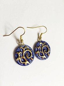 Náušnice - modré s ornamentom - 8301431_