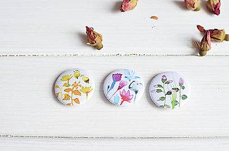 Odznaky/Brošne - Buttony Kvety, 3 ks - 8301601_