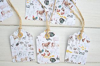 Papiernictvo - Handmade menovky Zvieratká z dvora - 8301743_