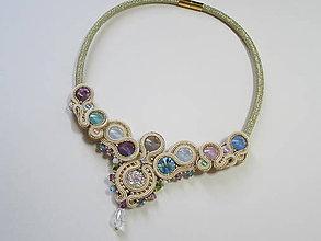 Náhrdelníky - Šujtášový náhrdelník Pastel - 8301055_