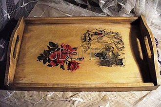 Nádoby - drevená tácka Birdie Darling - 8301797_