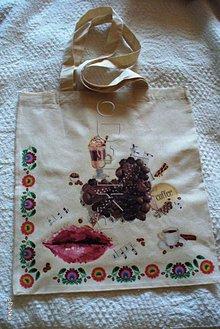 Nákupné tašky - ľanová nákupná taška I love Coffe - 8301806_