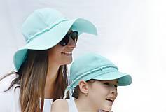 Čiapky - Ľanový klobúk mentolový - 8299823_