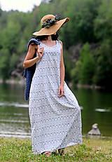 Šaty - Bílé s modrým vzorem - 8300372_