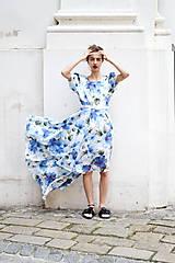 Šaty - Pompézne bavlnené šaty s modrými kvetmi- zľava - 8301489_