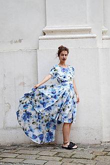 Šaty - Pompézne bavlnené šaty s modrými kvetmi - 8301490_