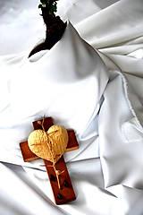 Dekorácie - Krížik morený - malý - 8303406_