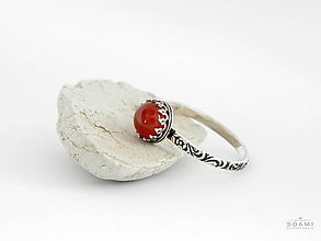 Prstene - CERTIFIKÁT 925 Strieborný prsteň s prírodným červeným karneolom - 8304590_